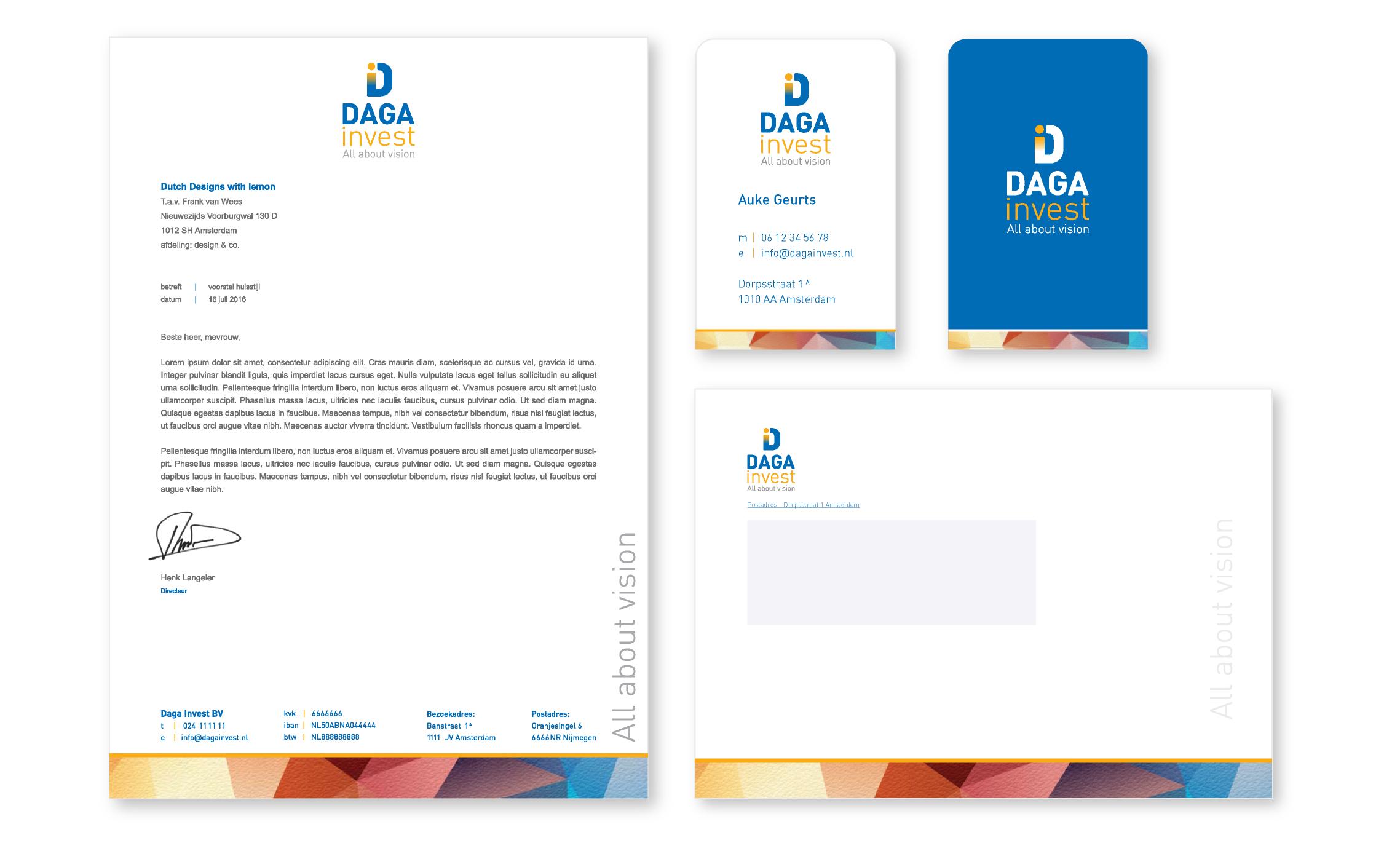 huisstijl laten ontwerpen Daga invest